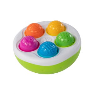 colorful pins upside down in the spinnypins toy