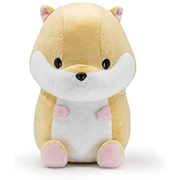 front view of white and tan plush hamster bellzi