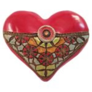 Heart Blanket Stitch Button Red Eskenazi